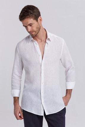 Hemington Beyaz Saf Keten Gömlek