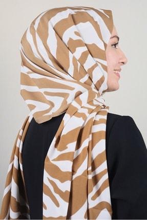 Modakaşmir Moda Kaşmir Karamel-beyaz Serisi Medine Ipeği Şal - Desen-02 - Renk-03