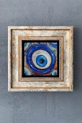 Oscar Stone Decor Çerçeveli Taş Duvar Dekoru Tablo 20cm X 20cm Nazar Boncuğu / Evil Eye Bead