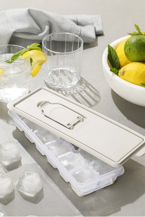 English Home Simply Plastik Kapaklı Buz Kalıbı 8,9x25,3x3,9 Cm Bej