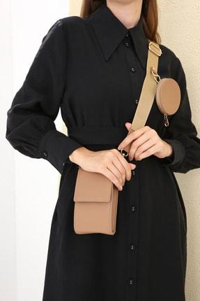 Ekrumoda Kahverengi Askılı Cüzdan Çanta