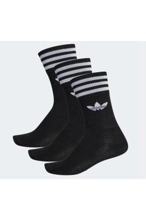 adidas Unisex Original Solid Crew Socks (spor Çorap Siyah 3 Çift)