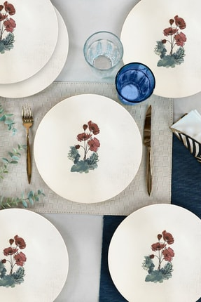 Keramika Poppy Flower Servis Tabağı 26 Cm 6 Adet