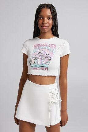 Bershka Dalgalı Şeritli Baskılı Kısa Kollu T-shirt
