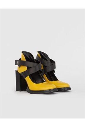 İLVİ Renan Hakiki Deri Kadın Sarı Topuklu Ayakkabı