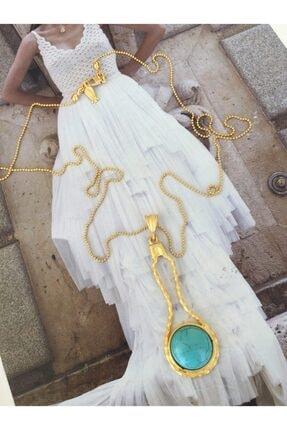 ACCESSORIES WORLD El Yapımı Çelik Turkuaz Gold Renk Kolye