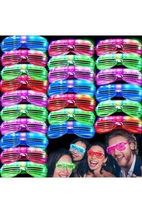 Acenter Led Işıklı Pilli Panjur Şekilli Rengarenk Yanıp Sönen Lüks Parti Gözlüğü Karışık 12 Adet