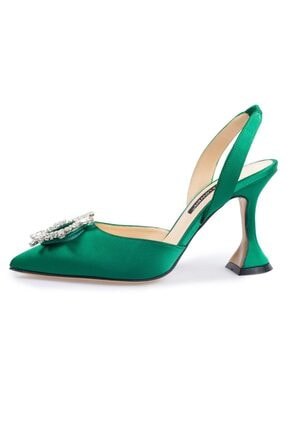 Flower Kadın Yeşil Saten Taşlı Abiye Ayakkabı
