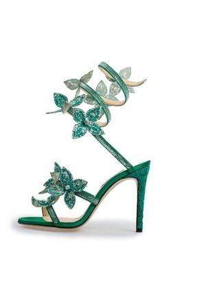 Flower Yeşil Dantel Yaylı Çiçekli Abiye Ayakkabı