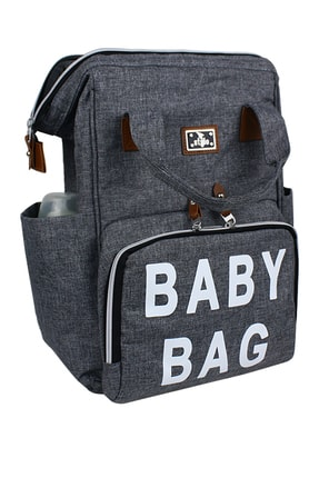Stylo Roma Baby Bag Baskılı Anne Bebek Bakım Sırt Çantası-gri
