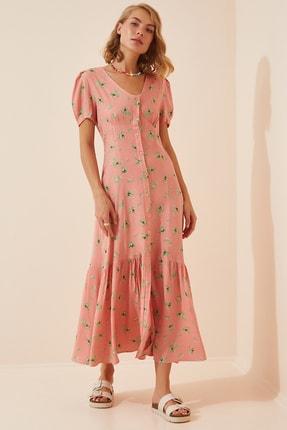 Happiness İst. Kadın Pembe V Yaka Düğmeli Yazlık Viskon Elbise FN02805