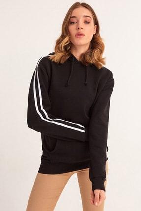 Fulla Moda Kolu Şeritli Kapüşonlu Sweatshirt