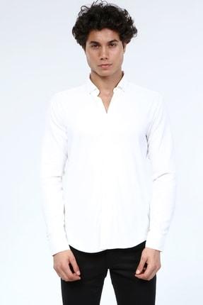 JİYAN Erkek Uzunkol Likralı Pamuklu Beyaz Gömlek 1675
