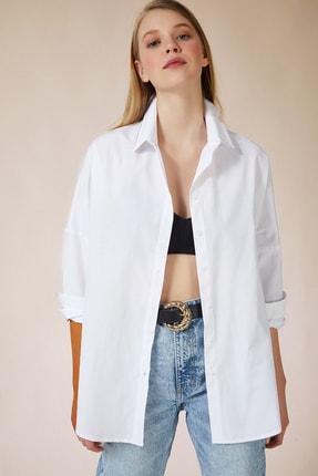 Happiness İst. Kadın Beyaz Oversize Uzun Basic Gömlek DD00842