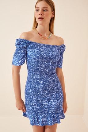 Happiness İst. Kadın Mavi Çiçekli Büzgülü Yazlık Viskon Elbise DK00090