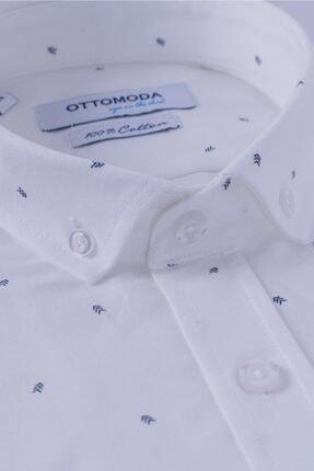 Ottomoda Erkek Oxford Desenli Kısa Kollu Gömlek