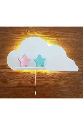 BugyBagy Işıklı Raf Dekoratif Beyaz Bulut Çocuk Odası Rafı Ve Aydınlatma Dekor Gece Lambası Duvar Dekorasyon
