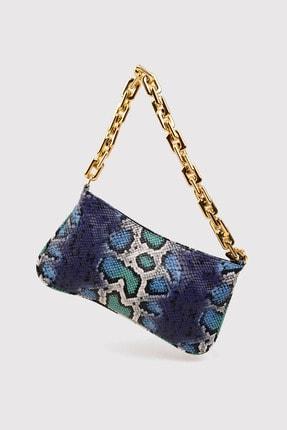 Berlesi Mavi Kadın Yılan Desenli Zincirli Baget Çanta