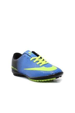 Walked Mugees Erkek Büyük Numara Hs11k48 Halı Saha Ayakkabısı Mavi Sarı