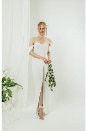 DUONE Yırtmaç Detaylı Straplez Elbise