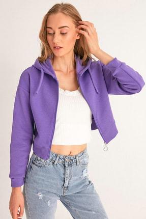 Fulla Moda Fermuarlı Kısa Sweatshirt