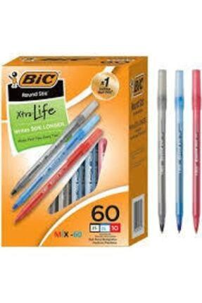 Bic Round Tükenmez Kalem 60 'lı Set ( 20 Siyah+20 Kırmızı+20 Mavi ) 3 Renk-60 Adet