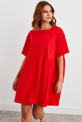 adL Düşük Kol Büzgülü Örme Elbise