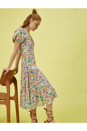 Koton Kadın Mor Kısa Kollu Çiçekli Elbise