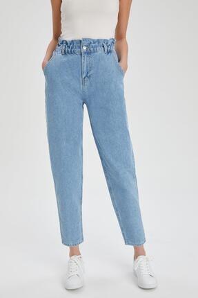 DeFacto Kadın Mavi Pamuklu Yıkamalı Jeans