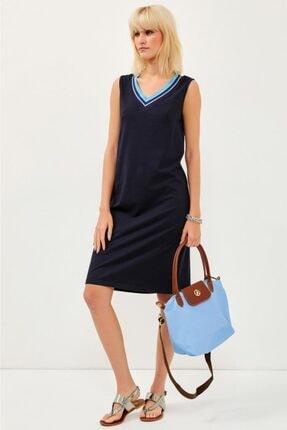 İKİLER V Yaka Yakası Simli Bantlı Kolsuz Lacost Elbise 021-2520
