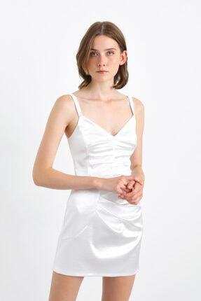 adL Büzgülü Askılı Mini Elbise