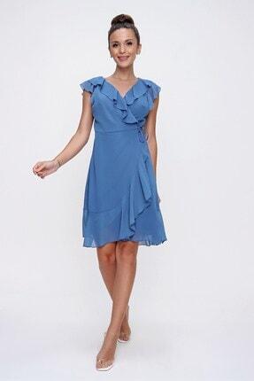 By Saygı Volan Detaylı Astarlı Anvelop Şifon Elbise Indigo