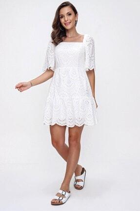 By Saygı Kare Yaka Astarlı Fisto Elbise Beyaz