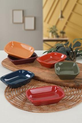 Keramika Rainbow Dikdörtgen Çerezlik / Kayık 13 Cm 6 Adet