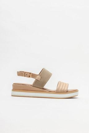 Elle Shoes Bej Deri Kadın Düz Sandalet