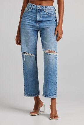 Bershka Distressed Crop Straight Fit Jean