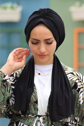 Zehra Hazır Havuz Tesettür Giyim Tasarım Bone Siyah (kadın Tesettür Giyim)