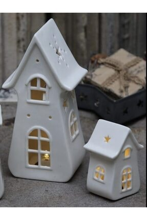 Spring&Kos Porselen Işıklı Ev Mini