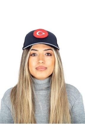 Safari Türk Bayraklı Lacivert Cırtlı Şapka