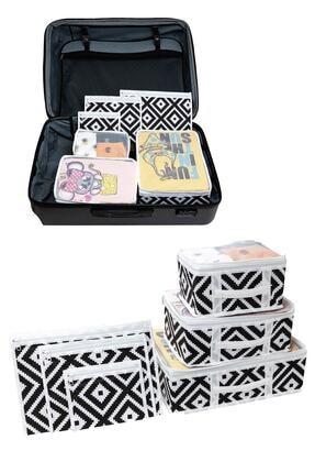 HAYATINIZI KOLAYLAŞTIRIN Vivyan Bavul Içi Düzenleyici Seyahat Organizeri 6 Lı Bavul Düzenleyici Set - Mozaik Desenli
