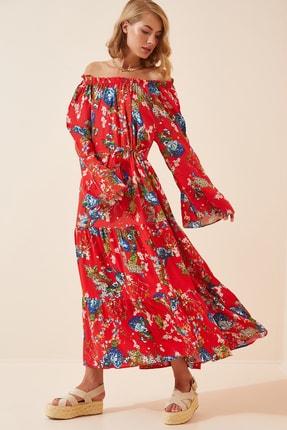 Happiness İst. Kadın Kırmızı İspanyol Kol Oversize Yazlık Viskon Elbise  FN02801