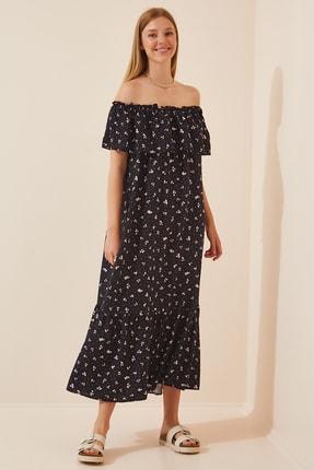 Happiness İst. Kadın Siyah Carmen Yaka Yazlık Uzun Viskon Elbise  FN02807