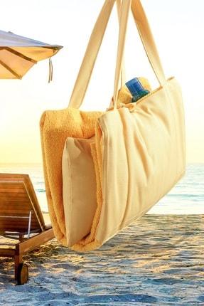Louis Marie Plaj Şezlong Havlu Yastıklı Çok Amaçlı Çanta Yastık Takımı Sarı