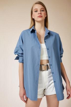 Happiness İst. Kadın İndigo Mavi Oversize Uzun Basic Gömlek DD00842