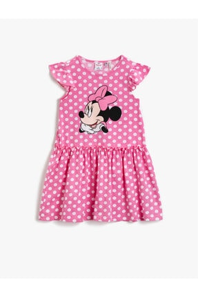 Koton Kız Çocuk Pembe Desenli Mickey Mouse Elbise Lisansli Pamuklu