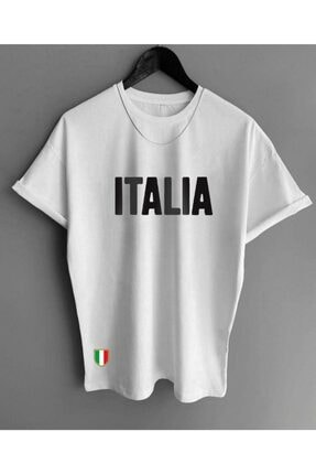 MODAGEN Erkek Beyaz Italia Yazılı Baskılı T-shirt