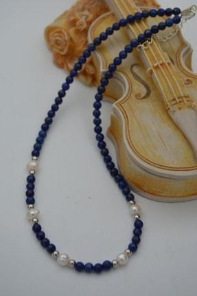 Stoneage Lapis Lazuli Ve Incili Kadın Kolye