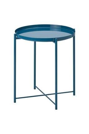 IKEA Tepsili Sehpa, Yuvarlak Mavi Renk Meridyendukkan Çıkarılabilir Tepsi - Modern Sehpa 45x53 Cm