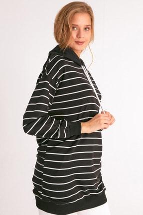 Fulla Moda Kapüşonlu Çizgili Sweatshirt