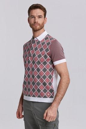 Hemington Erkek Beyaz Karo Desen Triko Polo Yaka T-shirt